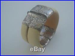 Wide Antique Hinged Cuff Bangle Bracelet Steer Bone Asian Tribal