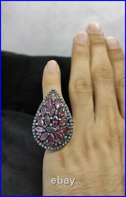 Wonderful Vintage Pink Natural Turmaline Rose Cut Daimond Gemstones Silver Ring