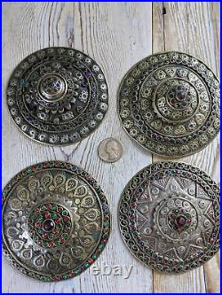 XL Set of Tribal Buttons Buckles Adornment Unique Set of 4x (#8426)