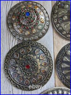 XL Set of Tribal Buttons Buckles Adornment Unique Set of 5x (#8427)