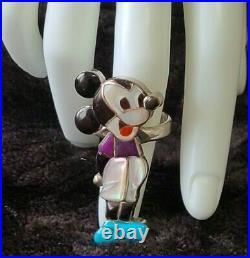 Zuni Artist Veronica Poblano Nastacio Mickey Mouse Sterling Ring Rare Blue Shoes