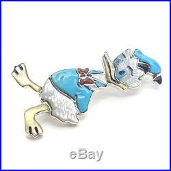 Zuni Handmade Sterling Silver Inlay Donald Duck Pendant / Pin Andrea Shirley