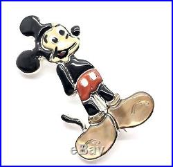 Zuni Handmade Sterling Silver Inlay Mickey Mouse Pin / pendant- Andea Shirley