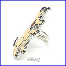 Zuni Handmade Sterling Silver Inlay Pluto Ring Size 6.5 Andrea Shirley