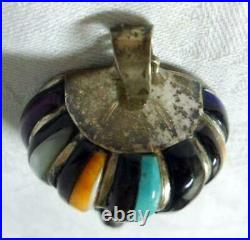 Zuni Sterling Silver Turquoise Coral Onyx Hot Air Balloon Pendant